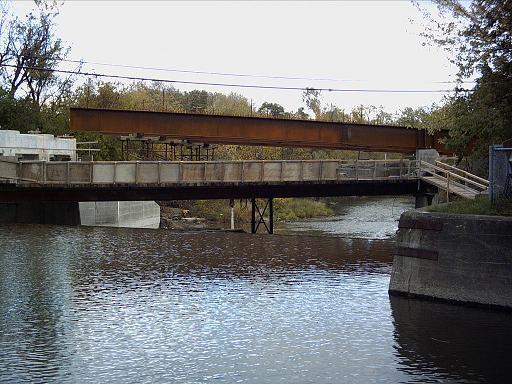 Le chantier du pont, vu de la passerelle