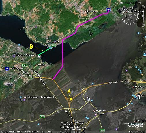 Prolongement de l'A-640 à compléter (Photo originale: Google Earth)
