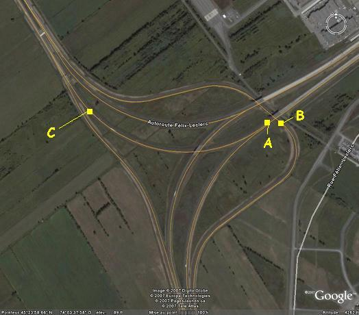 Lieu de l'accident (Photo originale: Google Earth)
